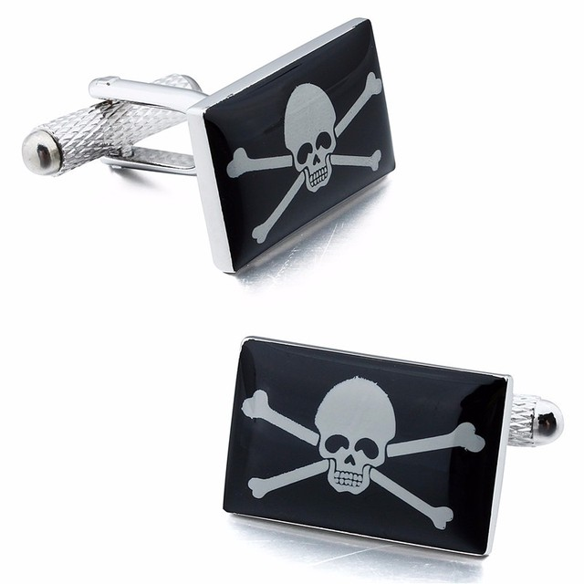 HAWSON Skull And Cross Bone Cuff links High Quality Picture Cuff links Square