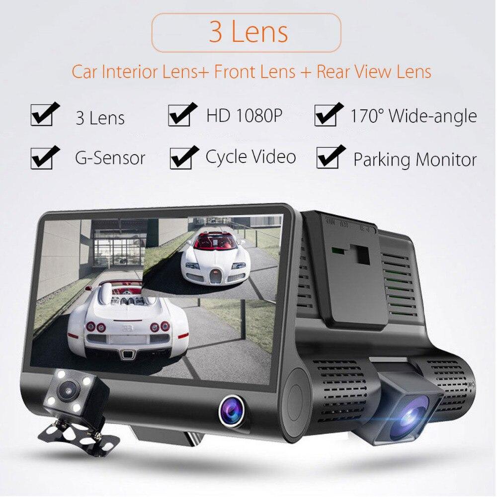 32GB TF Card Triple Cameras Car Driving Recorder Car Blackbox DVR G-sensor Full HD 1080P Night Vision Vehicle Video Recorder цена