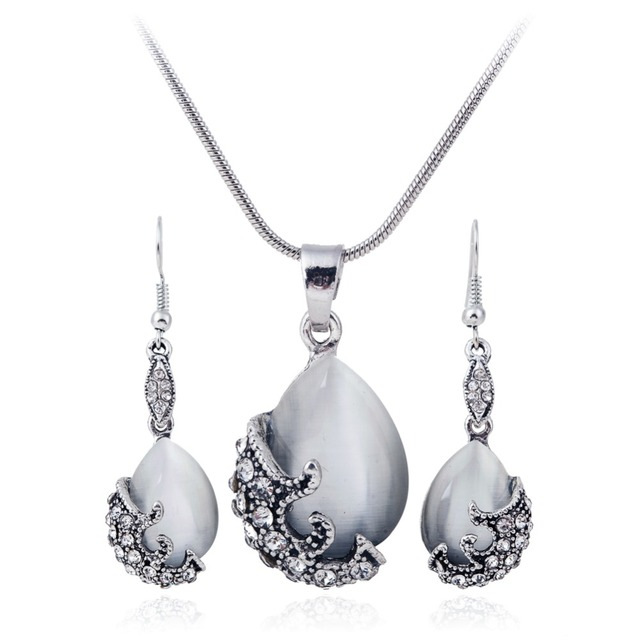2016 New Fashion Jewelry Sets Silver  Filled Opal Vintage Crystal Necklace Earring Wedding Jewellery Set for women XY-N596