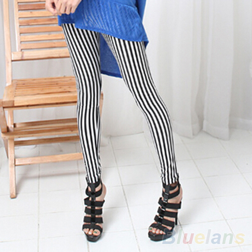 Hot Fashion Women's Black White Vertical Stripes   Leggings   Pants 0KDK 7F71