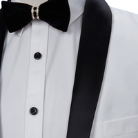 HB059 2017 White Groom Tuxedos Slim Fit Tailored Suit Black Shawl Lapel Wedding Suits For Men (Jacket+Pants) Prom Party Wearing