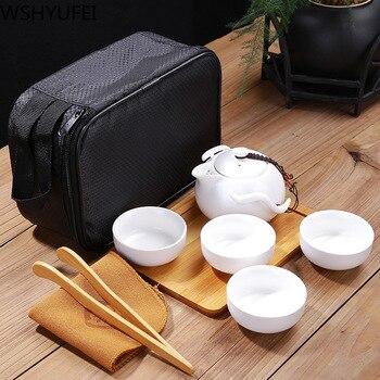 Creative travel tea set portable art pot Ding kiln ceramic Tea set teapot all handmade home gift tea set dropshipping 2