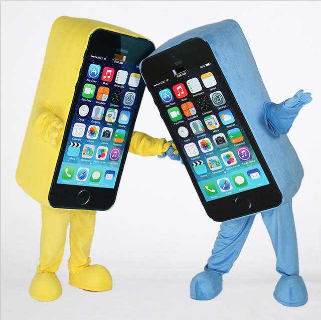 Wholesale High Quality EVA Material Iphone Mascot Costume Mobile Phone Mascot Costume Cellphone Mascot Free Shipping