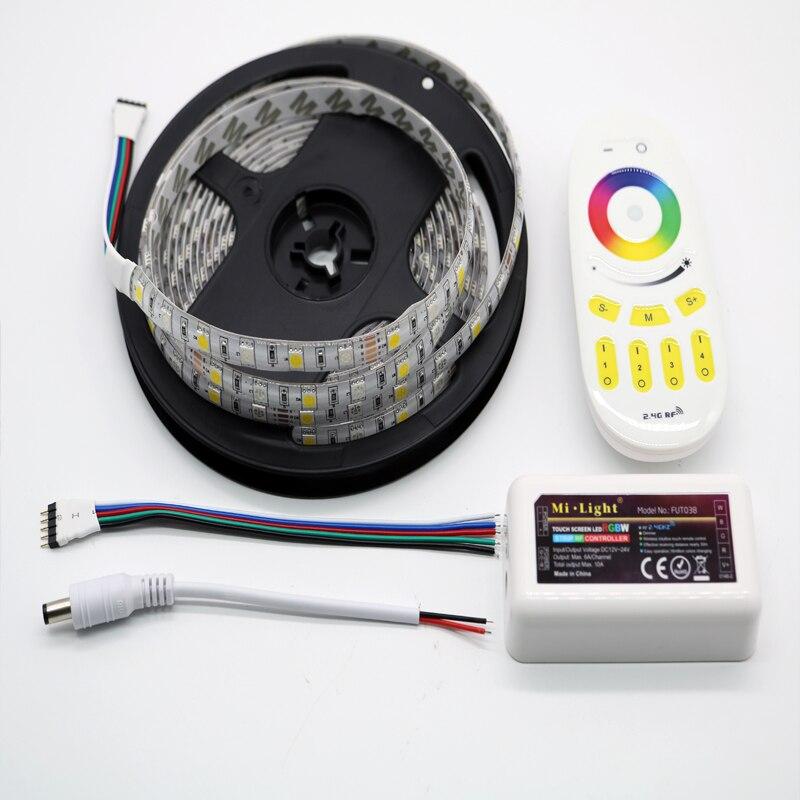 10 M 15 M 20 M RGBW RGBWW Led bande lumineuse DC12V étanche 5050 SMD + mi-light Led de contrôle + Kit adaptateur secteur