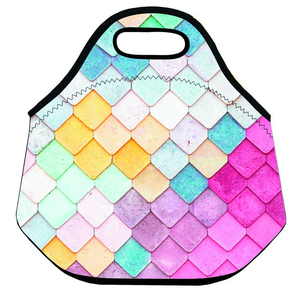 Colorful Geometric Thermal Insulated Lunch Bag for Kids Neoprene Lunch Bag for Women and Men Large Food Lunch Box Bag Picnic Bag