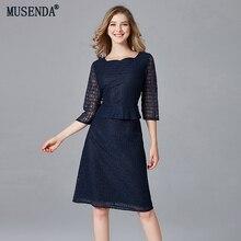 MUSENDA размера плюс женское элегантное темно-синее кружевное тонкое платье-туника осеннее женское офисное Деловое платье vestido одежда