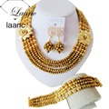 Brand Laanc 18inches Women Ethiopia Jewelry Sets Gold Plated Crystal African Beads Wedding Accessories AL144