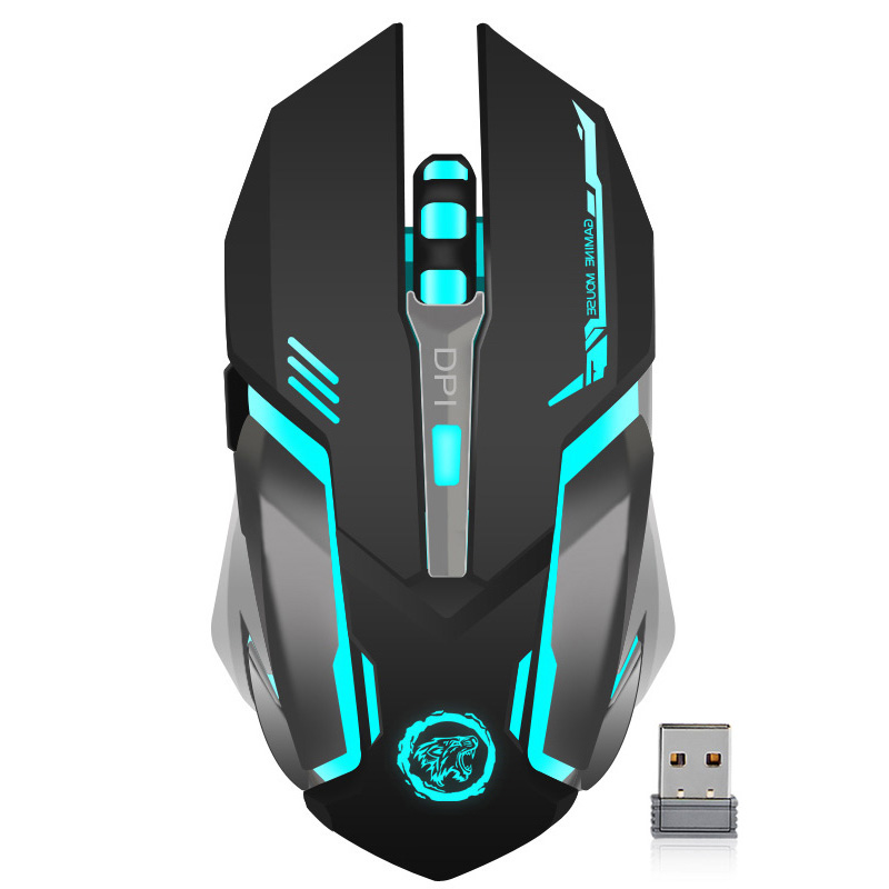 Recargable inalámbrico de 2,4 GHz con retroiluminación LED USB Optical 6 botones ergonómico silencioso Gaming Mouse Gamer para PC de escritorio portátil