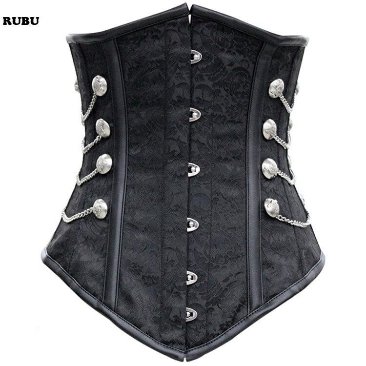 Black Satin Underbust   Corset   with Chains buckle women gothic steampunk   bustiers     corsets   waist Belly Pattern Steampunk   Corset