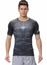 Red Plume Men s Compression Tight Fitness Shirt Spider Man Armor Breathable Sports T shirt
