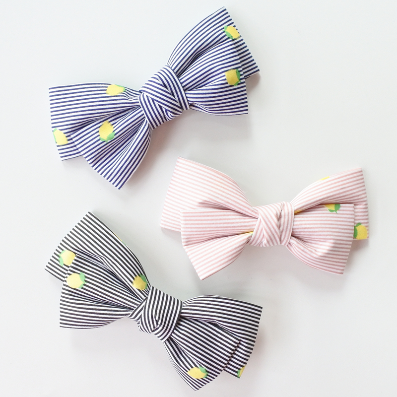 Floral Striped Boutique Hair Bows For Girls Hair Clips Lemon Print Stripes Bow Hairpins Barrettes Head Accessories For Women ...