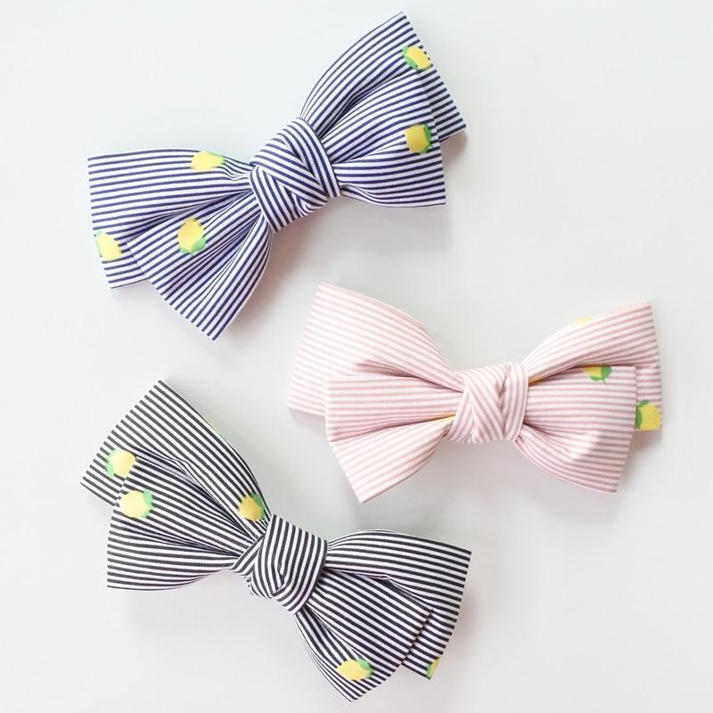 Floral Striped Boutique Hair Bows For Girls Hair Clips Lemon Print Stripes Bow Hairpins  ...