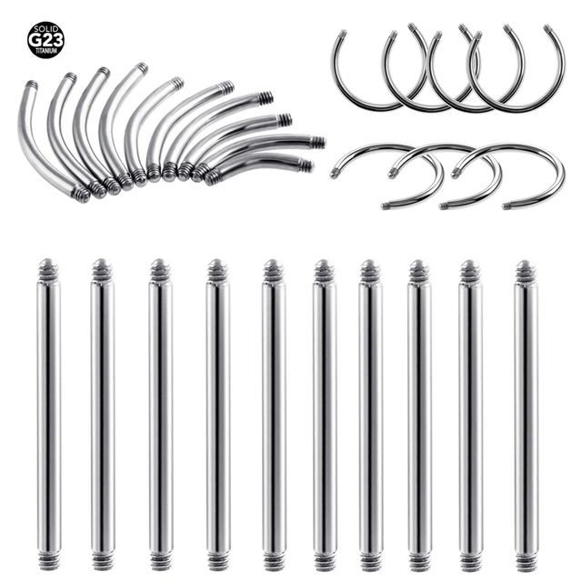50Pcs G23 Titanium Curved&Circular&Straight Barbell Part Screw Thread Head 16g 14g For Lip Eyebrow Nose Earring Piercing Jewelry