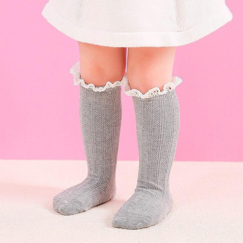 Носки до колена из 100% хлопка для новорожденных, детские носки для девочек От 0 до 3 лет