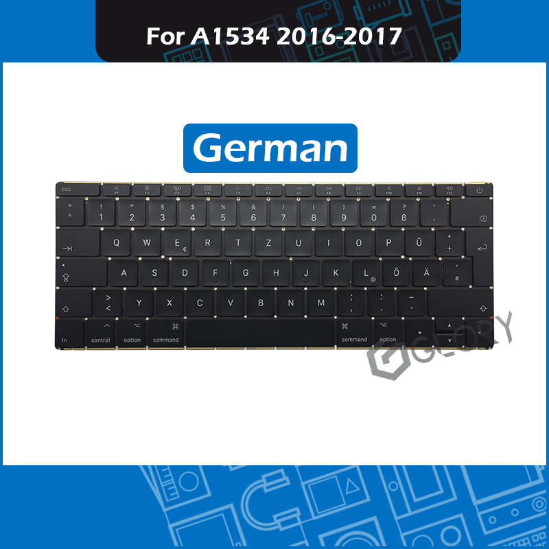 Full New A1534 Keyboard German Layout For Macbook Retina 12 A1534 DE keyboard Replacement Early 2016 Mid 2017Full New A1534 Keyboard German Layout For Macbook Retina 12 A1534 DE keyboard Replacement Early 2016 Mid 2017