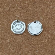 20Pcs/lots Single side Letter D Disc Initial alloy Charms Pendants DIY Accessories 18x18.5MM Antique Silver