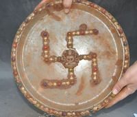 Collect Rare Old tibet buddhism Crystal sculpture Buddha Statue Dish Tray Plate