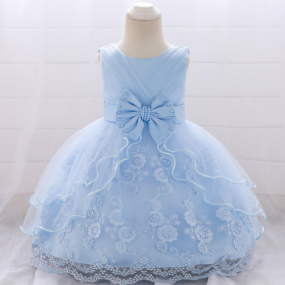 MQATZ New Baby Girl Baptism Dresses Appliques Blue Tulle Toddler Girl Christening Gown Infant Party Dress for Littlel 1 Birthday in Dresses from Mother Kids