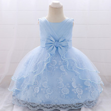 MQATZ New Baby Girl Baptism Dresses Appliques Blue Tulle Toddler Christening Gown Infant Party Dress for Littlel 1 Birthday