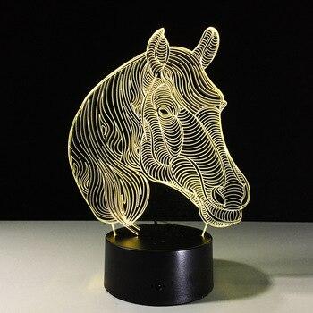 LAMPE 3D LED Lampe Décoration de La Maison 3D cheval 1