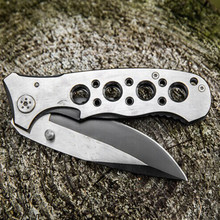 New Pure steel Folding Survival Knife 57HRC Tactical knife outdoor camping hunting rescue knives