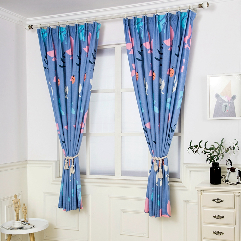 Simple Nordic Style Half Blackout Curtains Colorful Leaf Pattern Blue Children's Cloth Curtains Bedroom Custom Draping(China)