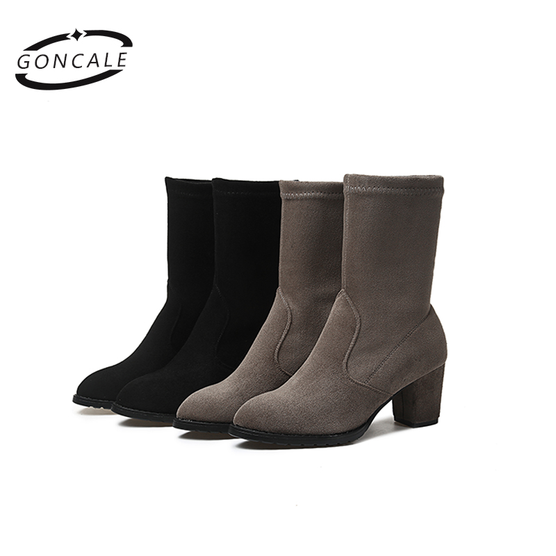 2017 Autumn Winter Women leather Ankle Boots high heels platform short booties ladies High Quality  ankle boots
