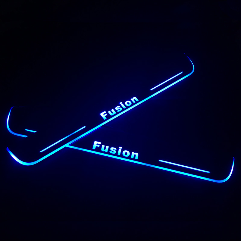 SNCN LED Car Scuff Plate Trim Pedal Door Sill Pathway Moving Welcome Light For Ford Fusion