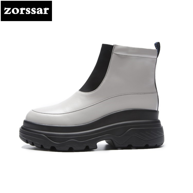 {Zorssar} winter fur Female boots flat heel Ankle boots Genuine Leather Platform shoes boots women Booties botas mujer invierno