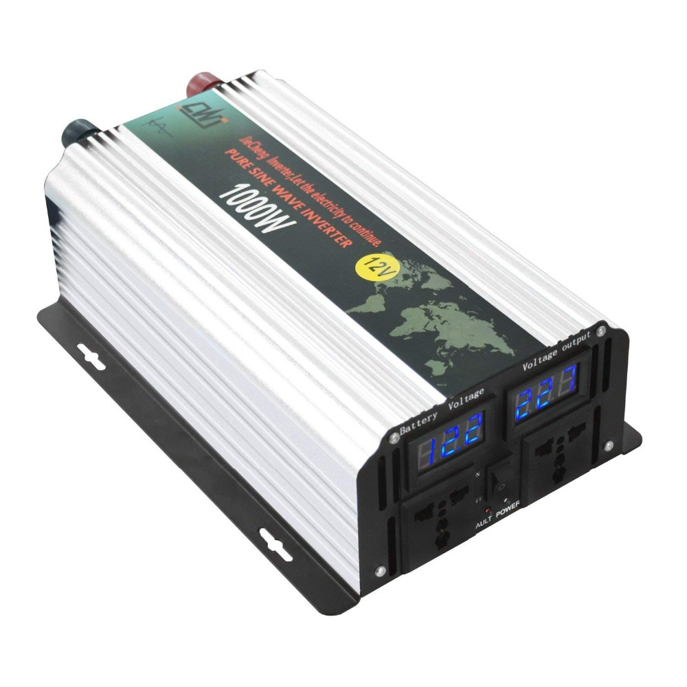 цена на Pure Sine Wave Solar Power Inverter 1000W Peak 2000W 12V To Ac 110V/220V High Efficient Dc Power Inverters With LCD Display