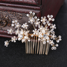 Gold Vintage Pearl Crystal Flower Wedding Hair Comb tiara Hair Jewelry Women Comb Bride Hair Accessories Wedding Headpieces