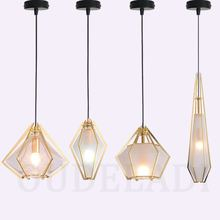 Modern Nordic Glass Diamond Pendant Lights Creative Single Head Bar Restaurant Retro Bedroom Iron Lamps