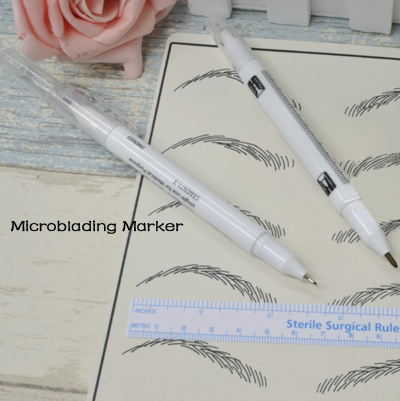 Microblading Skin Marker Pen Double Ended With Ruler Set Permanent Makeup Outliner Sterile Surgical Pack Tattooing Tool