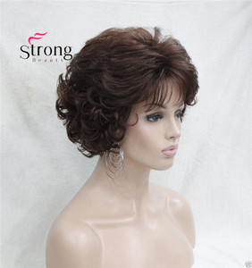 Image 3 - Short Curly Dark Auburn Synthetic Hair Full wig Womens Thick Wigs For Everyday