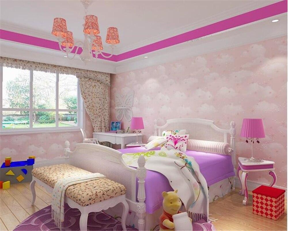 US $49.8 |Beibehang Hohe ende kinderzimmer papel de parede wand papier  vlies blaue himmel weiße wolken rosa tapete schlafzimmer hintergrund-in  Tapeten ...