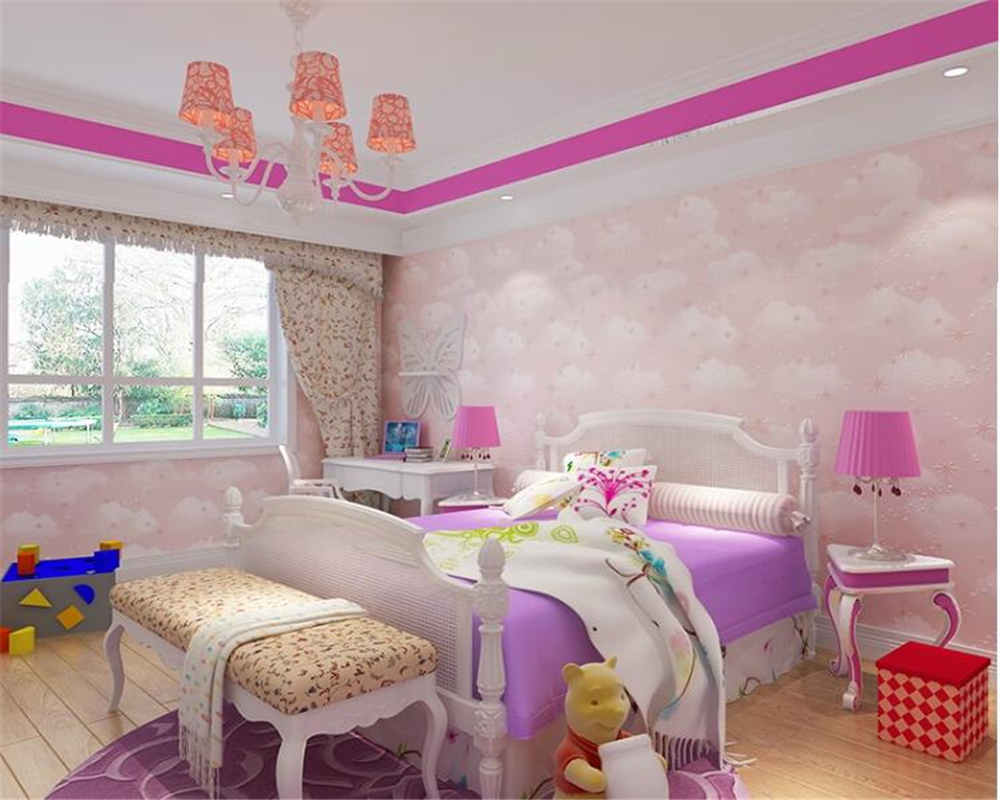 beibehang High-end children's room papel de parede wall paper non-woven blue sky white clouds pink wallpaper bedroom background