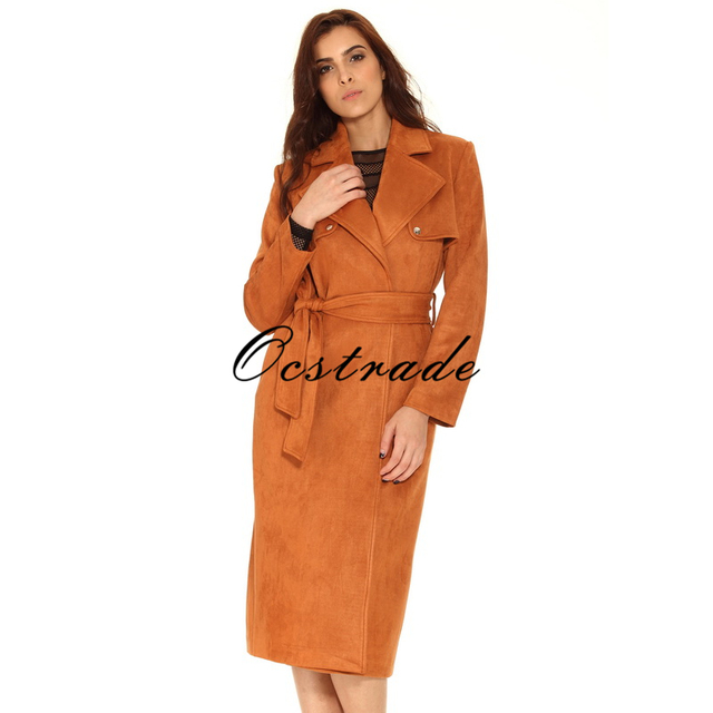 Frete Grátis Hot New Tan Suedette Trench Coat para As Mulheres 2016 Moda