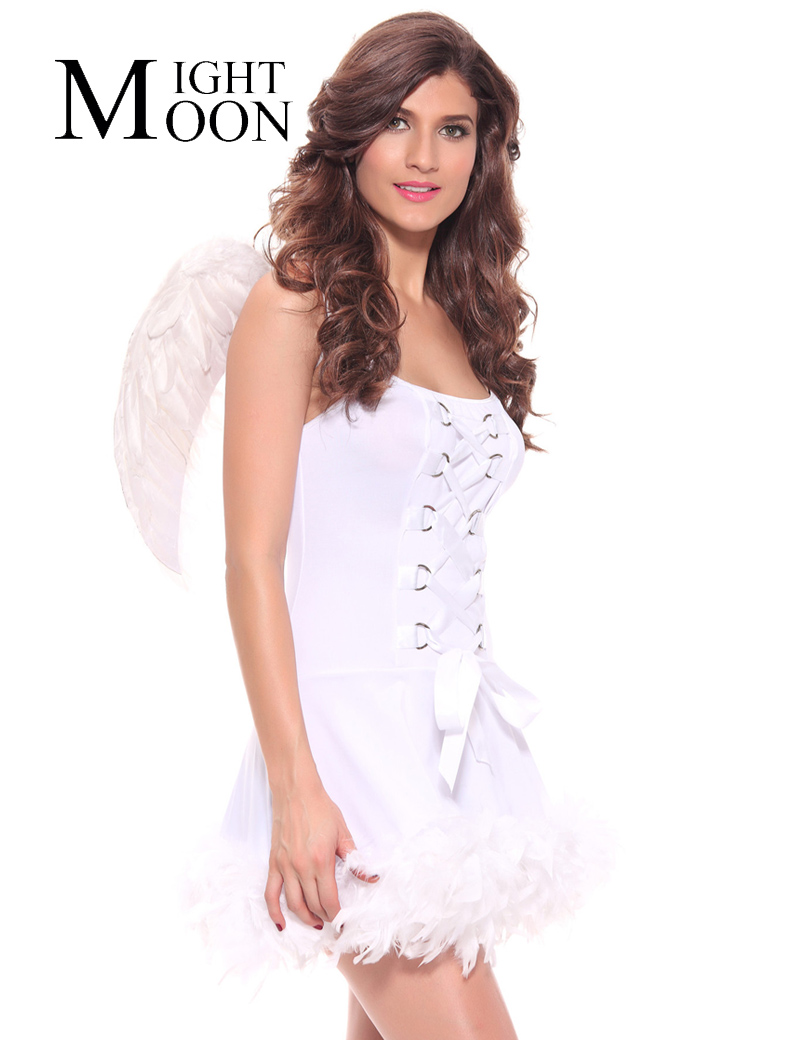 MOONIGHT Sexy Angel Costume Adult Women Cosplay Party Halloween Fancy Angel Dress