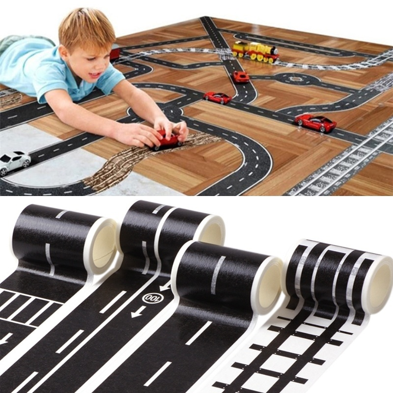 6pcs Set Railway Road Washi Tape Sticker Wide Creative Novelty Traffic Sticky Paper Tape Scotch Road For Kids Toy Car Train Play