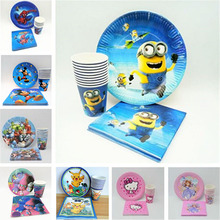 40pc/set Mickey Minnie Mouse Spiderman Moana Pikachu Cup/Plate/Napkin For Kids Event Party Decorations Favors