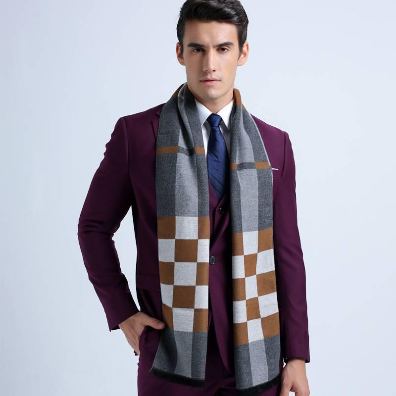 2016 Fashion England Style font b Tartan b font Basic Scarves Brand Men Business Scarf Red