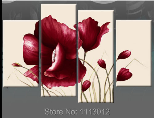 Hot Sale 100% Hand Painted Red Flower Oil Painting On Canvas 4 Pcs Sets Abstract Home Modern Wall Art Decor For Living Room