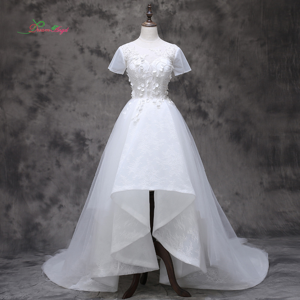 Dream Angel Luxury Short Sleeve High Low Lace Wedding Dress 2017 Appliques Beading Flowers Vintage China Bridal Gown Plus Size