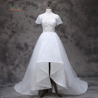 Dream Angel Luxury Short Sleeve High Low Lace Wedding Dress 2017 Appliques Beading Flowers Vintage China