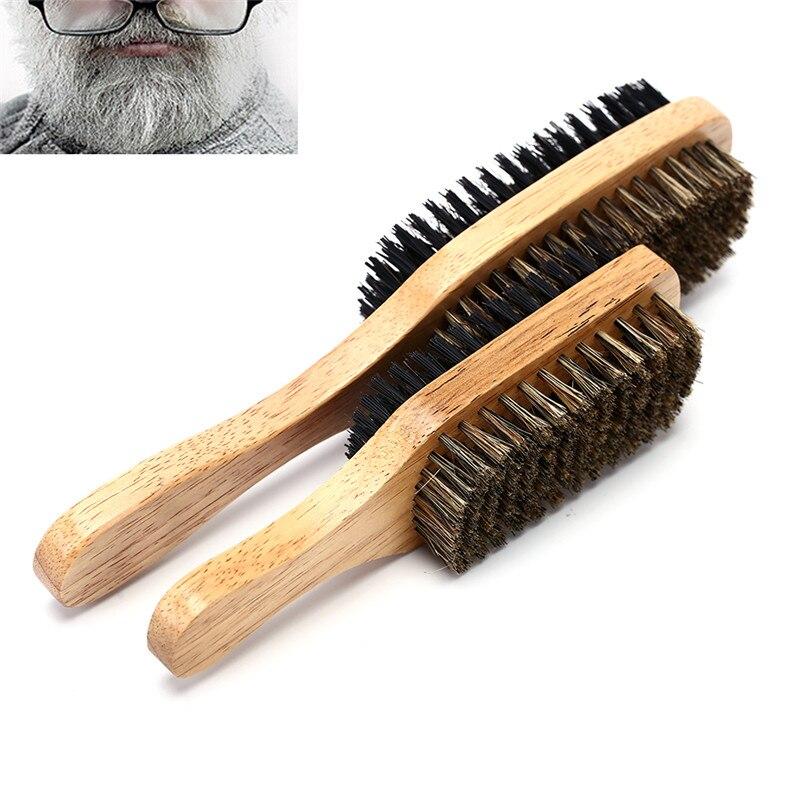 3 Sizes Shaving Tool Double-sided Facial Hair Brush Men's Beard Brush Wooden Handle Shaving Comb Male Mustache Brush Solid