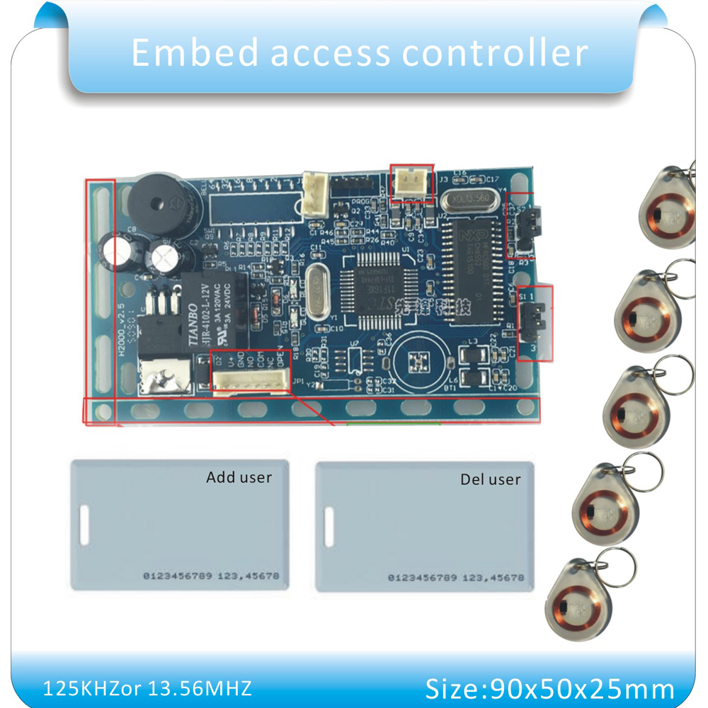 Free shipping 125khz rfid em id embedded door access for Door access controller