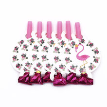 6pcs/lot Flamingo Blowout Plastic Whistle Birthday Party Blow Out Wedding Celebration Noise Maker Party Supplies Decorative Toys(China)