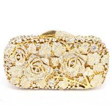 Rose Diamanten Strass frauen Abend Handtasche Partei Prom Hochzeit Geldbörse Mode Heißer Verkauf Kette Schulter Handtasche Q04