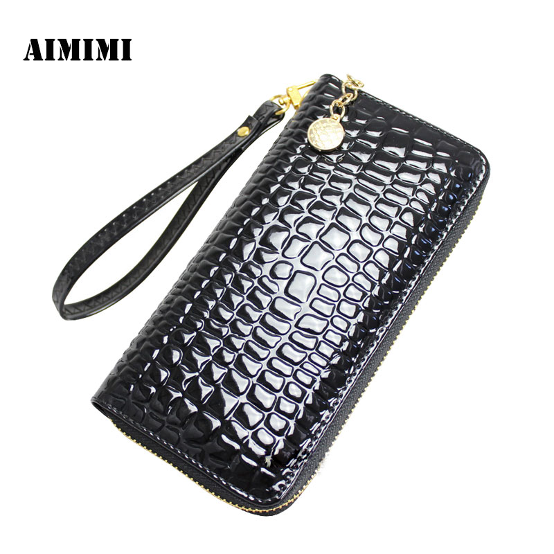 New Korean women s patent PU long wallet authentic wallet wallet women s handbags handbags zipper bag