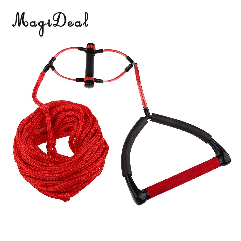 MagiDeal Double Handle Water Skiing Wakeboard Tow Harness Rope 1 Section 75  Feet Red/Orange 23m